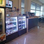 """Кафе-столовая в бизнес-центра """"Евраз"""", г. Москва. Витрины """"Ольга"""" коричневый шагрень."""