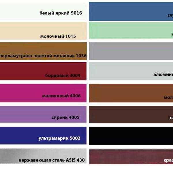 палитра RAL-цветов для оборудования с металлическим корпусом